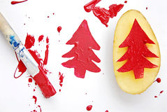 圣诞节土豆印刷品 免版税库存照片