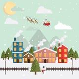 圣诞节圣诞老人和驯鹿雪月亮夜 库存图片
