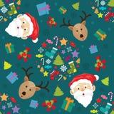圣诞节圣诞老人和驯鹿雪 图库摄影