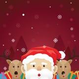 圣诞节圣诞老人和驯鹿雪 免版税库存图片