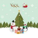 圣诞节圣诞老人和驯鹿雪 库存照片