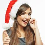 圣诞节圣诞老人妇女电话中心操作员 略图 免版税库存照片