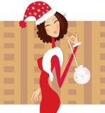 圣诞节圣诞老人妇女 免版税库存照片