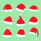圣诞节圣诞老人帽子传染媒介例证集合 库存图片