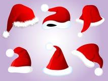 圣诞节圣诞老人帽子集合 免版税库存照片