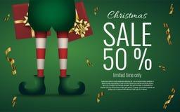 圣诞节圣诞老人矮子在绿色背景的` s腿 销售横幅或飞行物 库存照片