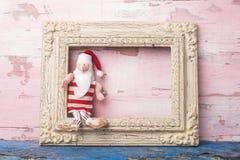 圣诞节圣诞老人空的照片框架卡片 免版税图库摄影