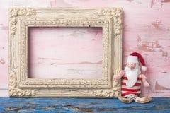 圣诞节圣诞老人空的照片框架卡片 库存图片