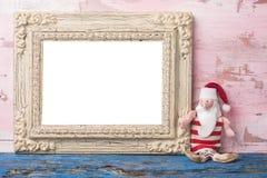 圣诞节圣诞老人空的照片框架卡片 免版税库存照片