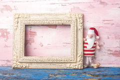 圣诞节圣诞老人空的照片框架卡片 Copyspace 免版税库存照片