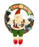 圣诞节圣诞老人花圈 免版税库存图片