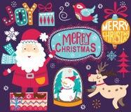 圣诞节圣诞老人装饰汇集 皇族释放例证