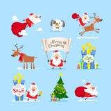 圣诞节圣诞老人集合 向量,例证 库存图片