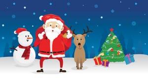 圣诞节圣诞老人雪人和驯鹿 免版税库存图片