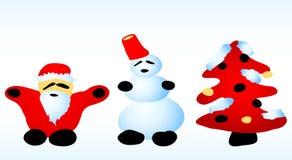 圣诞节圣诞老人雪人结构树 皇族释放例证