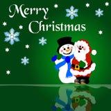 圣诞节圣诞老人雪人 向量例证
