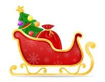 圣诞节圣诞老人雪橇股票传染媒介例证 库存例证