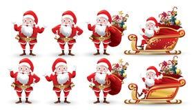 圣诞节圣诞老人项目和驯鹿的动画片汇集 设置滑稽的卡通人物激动另外姿势 传染媒介illu 皇族释放例证