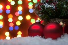 圣诞节在与一棵圣诞树的雪戏弄与诗歌选o 库存图片