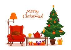 圣诞节在五颜六色的动画片平的样式的室内部 库存图片