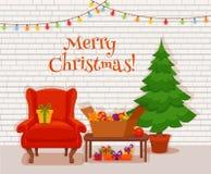 圣诞节在五颜六色的动画片平的样式的室内部 免版税库存图片