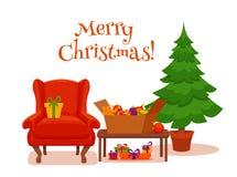圣诞节在五颜六色的动画片平的样式的室内部 免版税图库摄影