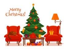 圣诞节在五颜六色的动画片平的样式的室内部 库存照片