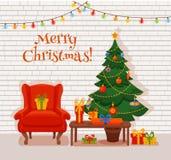 圣诞节在五颜六色的动画片平的样式的室内部 图库摄影