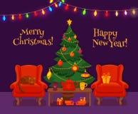 圣诞节在五颜六色的动画片平的样式的室内部 免版税库存照片