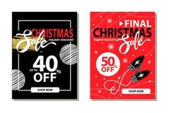 圣诞节在传染媒介例证的销售汇集 图库摄影