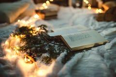 圣诞节在光的装饰书 库存照片
