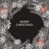 圣诞节在单色样式的花圈框架在黑板 免版税库存照片