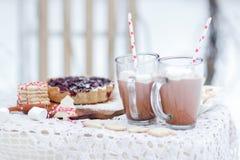 圣诞节在可可粉的静物画用莓果饼曲奇饼和蛋白软糖喝 库存照片