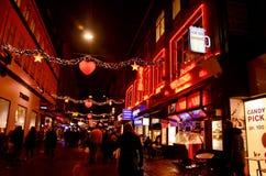 圣诞节在哥本哈根市在晚上 库存图片