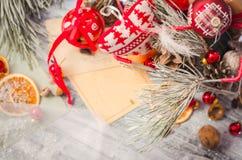 圣诞节在土气白色木背景的冬天装饰 库存照片