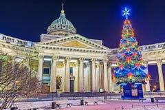 圣诞节在圣彼得堡 spb的喀山大教堂 napis在鲁斯 免版税库存照片