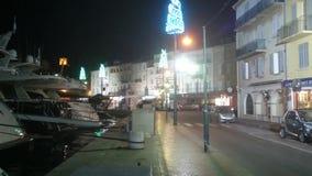 圣诞节在圣特罗佩游艇小游艇船坞 股票视频