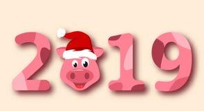 圣诞节在圣诞老人帽子,标志农历新年的猪画象2019年 向量例证