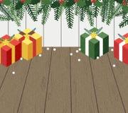 圣诞节在地板上的礼物盒 免版税库存图片