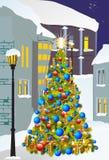 圣诞节在城市 免版税库存照片