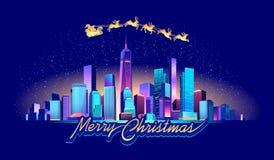 圣诞节在夜城市 皇族释放例证