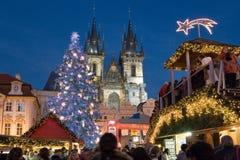 圣诞节在布拉格(联合国科教文组织),捷克共和国 免版税库存照片