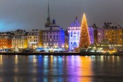 圣诞节在斯德哥尔摩,瑞典 免版税库存照片
