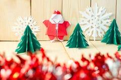 圣诞节在木地板,选择聚焦上的概念文件工艺, 库存图片