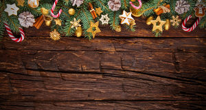 圣诞节在木板条安置的诗歌选装饰 库存图片