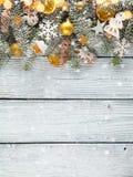 圣诞节在木板条安置的诗歌选装饰 图库摄影