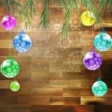圣诞节在木板的杉树。EPS 10 免版税库存照片
