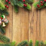 圣诞节在木板的杉树 库存图片
