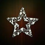 圣诞节在木背景的星装饰品 美好的概念为圣诞节打过工和冬天 库存图片