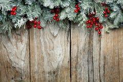 圣诞节在木背景的杉树 免版税库存图片